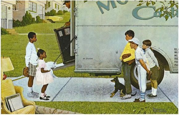 Moving In, by Norman Rockwell, inspired by integration efforts in Park Forest, Illinois.  How would the utterance of that word effect the potential relationship illustrated?